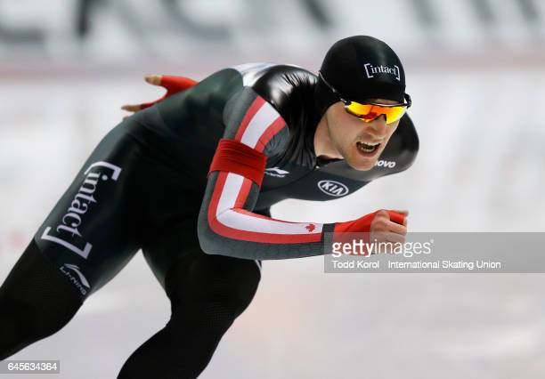 Vincent De Haitre of Canada competes in the men's 1000 meter race during the ISU World Sprint Speed Skating Championships on February 26 2017 in...