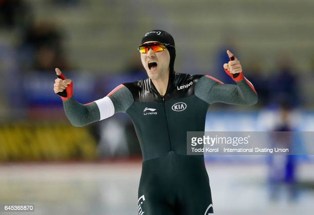 Vincent De Haitre of the Canada reacts after his race in the men's 1000 meter race during the ISU World Sprint Speed Skating Championships on...