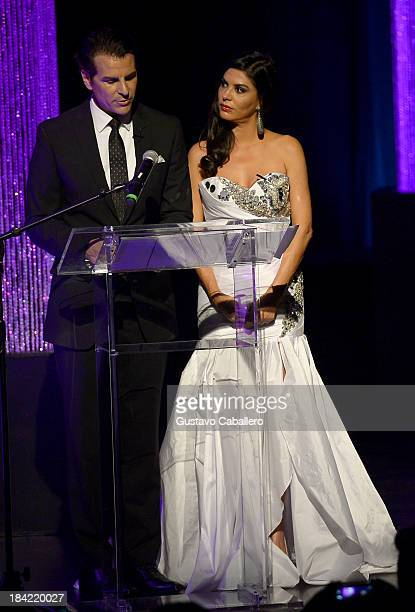 Vincent De Paul and Adriane de Moura attends the Miss Brasil USA 2013 preliminary competition on October 11 2013 in Miami Florida