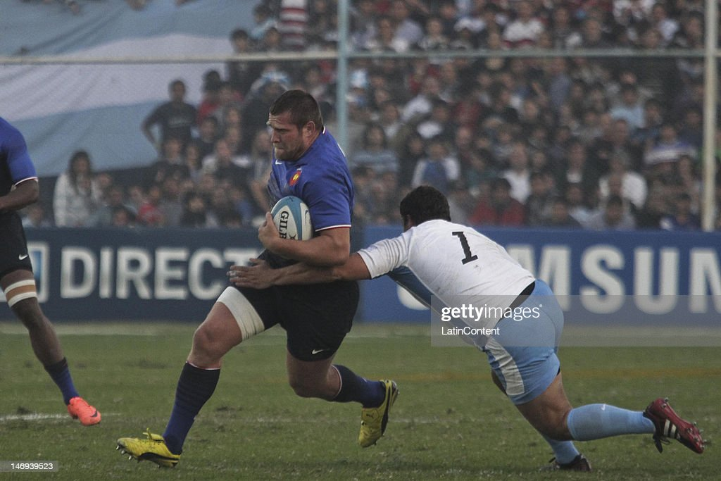 Vincent Debaty from France in action during a match between Los Pumas from Argentina and France as part of the Standard Bank Cup at José Fierro...