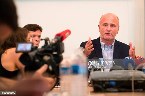 Vincent Debraize mayor of Champignolles a small village in Normandy in northern France speaks during a press conference on June 22 2017 in Paris...