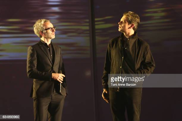 Vincent Delerm and Benjamin Biolay perform during the '32nd Victoires de la Musique 2017' at Le Zenith on February 10 2017 in Paris France