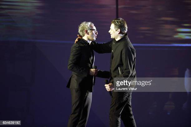Vincent Delerm and Benjamin Biolay performs during 'Les Victoires de la Musiques 2017' at Le Zenith on February 10 2017 in Paris France