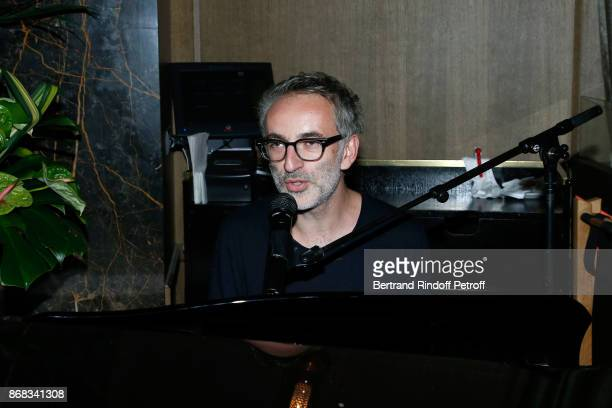 Vincent Delerm who wrote a song especially for Claude Lelouch performs during Claude Lelouch celebrates his 80th Birthday at Restaurant Victoria on...