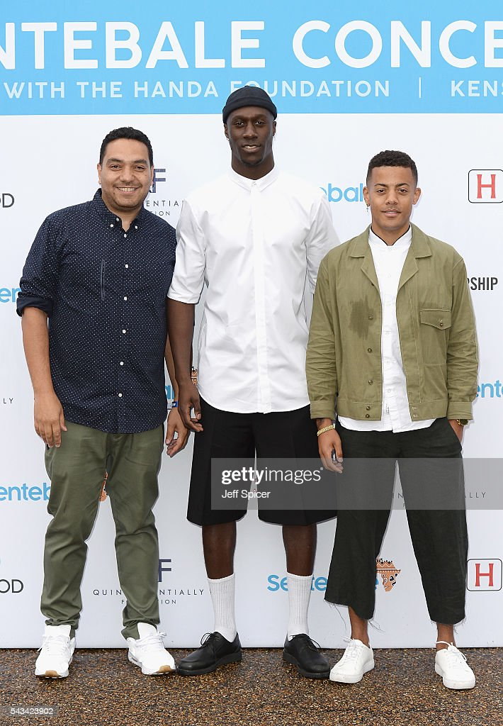 Vincent Dery (C) and Kahouly Nicolay Sereba (R) of Nico & Vinz and a guest attend the Sentebale Concert at Kensington Palace on June 28, 2016 in London, England. Sentebale was founded by Prince Harry and Prince Seeiso of Lesotho over ten years ago. It helps the vulnerable and HIV positive children of Lesotho and Botswana.