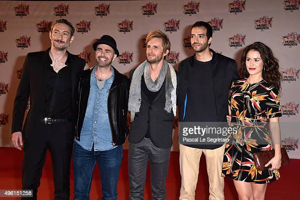 Vincent DesagnatJulien ArrutiPhilippe LacheauTarek Boudali and Alice David from the movie Babysitting attend the 17th NRJ Music Awards at Palais des...
