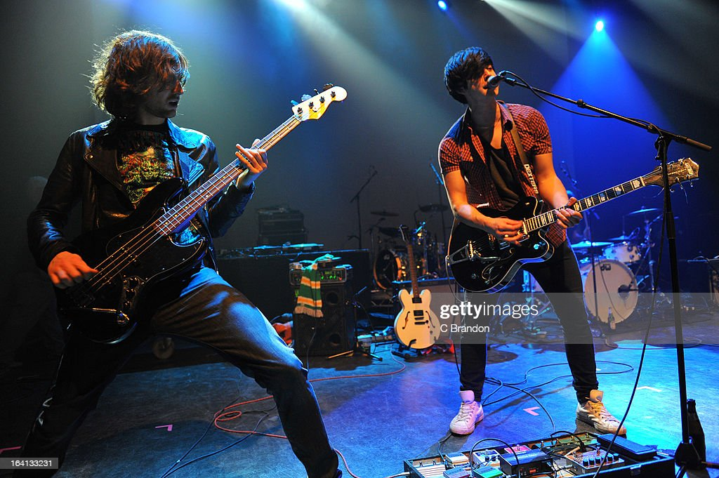 Vincent Dignan and Chris Heggie of Dexters perform on stage at O2 Shepherd's Bush Empire on March 17, 2013 in London, England.