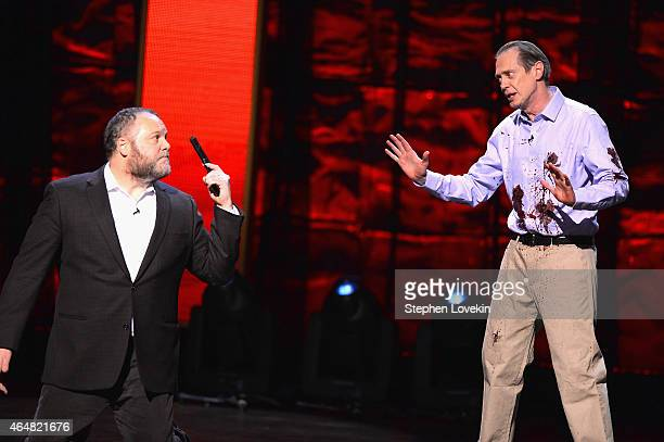 Vincent D'Onofrio and Steve Buscemi perform on stage at Comedy Central Night Of Too Many Stars at Beacon Theatre on February 28 2015 in New York City