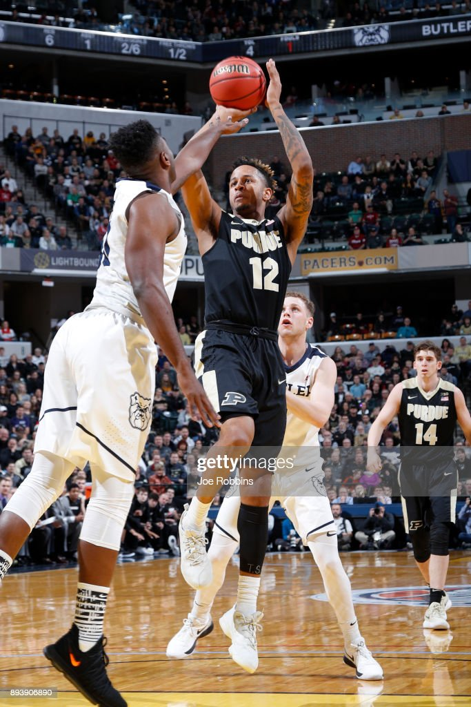 Vincent Edwards #12 of the Purdue Boilermakers shoots the ball against the Butler Bulldogs in the first half of the Crossroads Classic at Bankers Life Fieldhouse on December 16, 2017 in Indianapolis, Indiana. Purdue won 82-67.