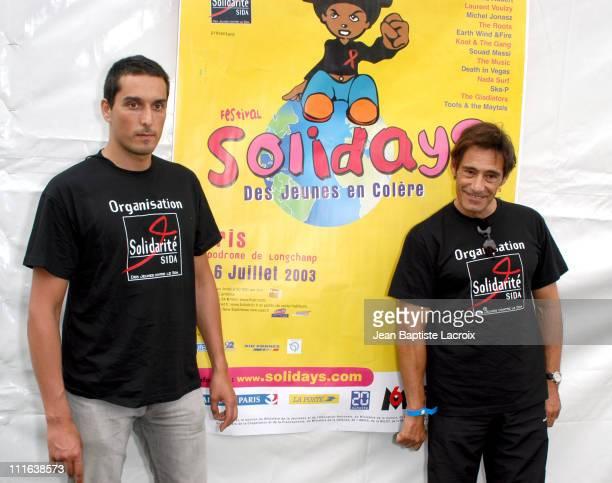 Vincent Elbaz Gerard Lanvin during 2003 Solidays Festival Celebrities Against Aids at Hippodrome de longchamp in Paris France