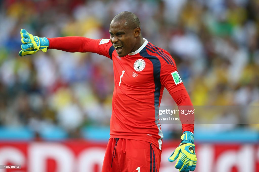 <a gi-track='captionPersonalityLinkClicked' href=/galleries/search?phrase=Vincent+Enyeama&family=editorial&specificpeople=831392 ng-click='$event.stopPropagation()'>Vincent Enyeama</a> of Nigeria gestures during the 2014 FIFA World Cup Brazil Group F match between Iran and Nigeria at Arena da Baixada on June 16, 2014 in Curitiba, Brazil.