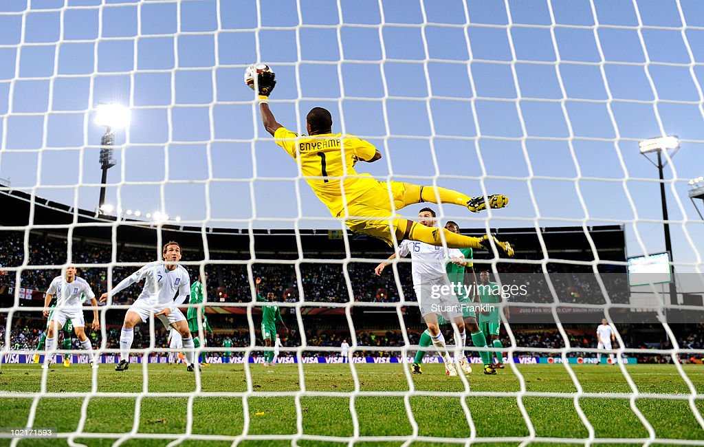<a gi-track='captionPersonalityLinkClicked' href=/galleries/search?phrase=Vincent+Enyeama&family=editorial&specificpeople=831392 ng-click='$event.stopPropagation()'>Vincent Enyeama</a> of Nigeria makes a diving save during the 2010 FIFA World Cup South Africa Group B match between Greece and Nigeria at the Free State Stadium on June 17, 2010 in Mangaung/Bloemfontein, South Africa.
