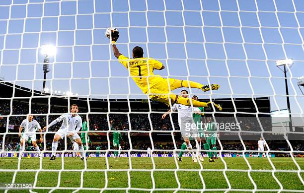Vincent Enyeama of Nigeria makes a diving save during the 2010 FIFA World Cup South Africa Group B match between Greece and Nigeria at the Free State...