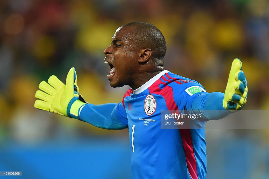 <a gi-track='captionPersonalityLinkClicked' href=/galleries/search?phrase=Vincent+Enyeama&family=editorial&specificpeople=831392 ng-click='$event.stopPropagation()'>Vincent Enyeama</a> of Nigeria reacts during the 2014 FIFA World Cup Group F match between Nigeria and Bosnia-Herzegovina at Arena Pantanal on June 21, 2014 in Cuiaba, Brazil.
