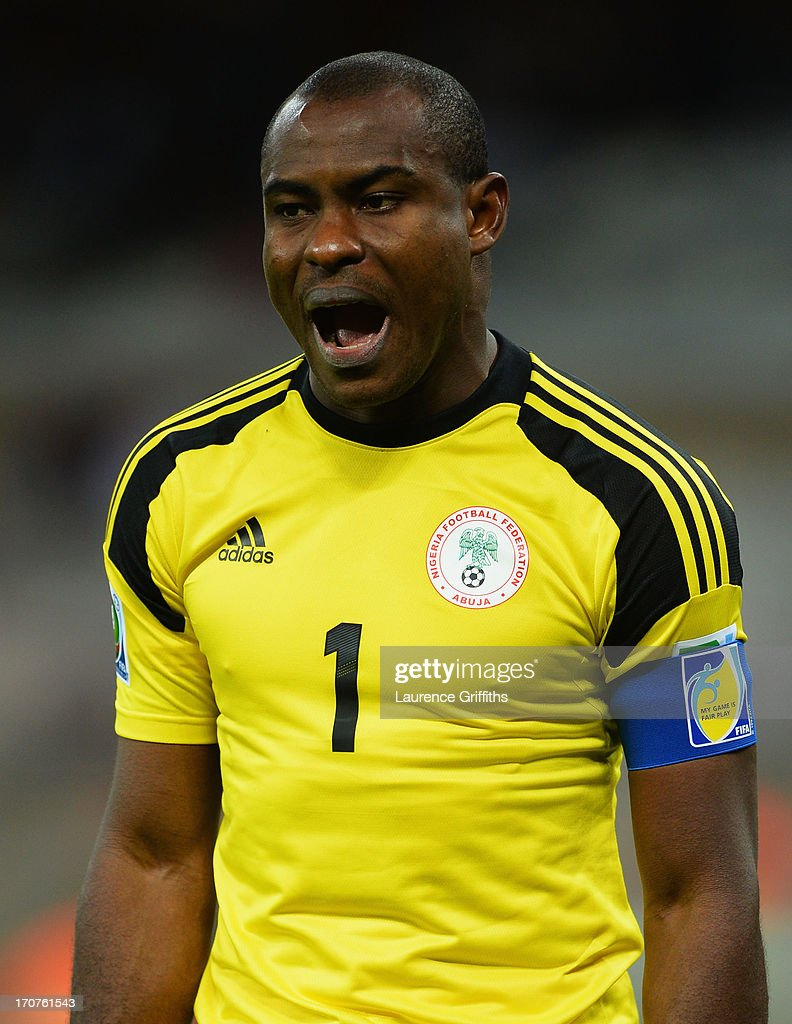 <a gi-track='captionPersonalityLinkClicked' href=/galleries/search?phrase=Vincent+Enyeama&family=editorial&specificpeople=831392 ng-click='$event.stopPropagation()'>Vincent Enyeama</a> of Nigeria reacts during the FIFA Confederations Cup Brazil 2013 Group B match between Tahiti and Nigeria at Governador Magalhaes Pinto Estadio Mineirao on June 17, 2013 in Belo Horizonte, Brazil.