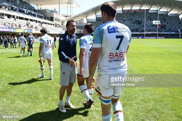 Vincent Etcheto Coach of Bayonne during the Top 14 match between Montpellier and Bayonne on April 16 2017 in Montpellier France