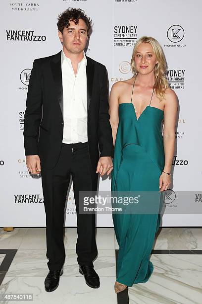 Vincent Fantauzzo and Asher Keddie arrive for Vincent Fantauzzo's unveiling of Charlize Theron portrait dinner and red carpet event at The Langham...
