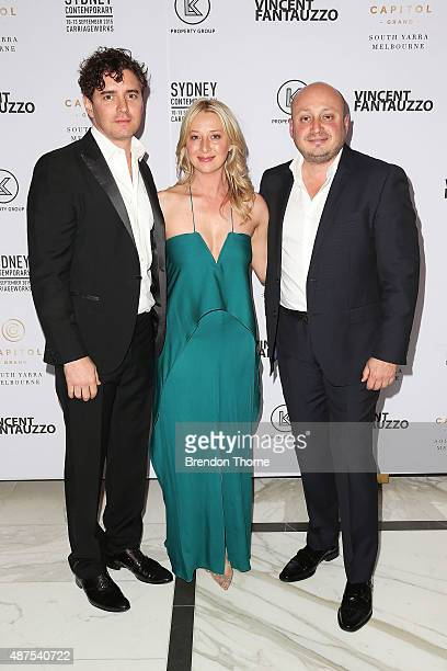 Vincent Fantauzzo Asher Keddie and Larry Kestelman arrive for Vincent Fantauzzo's unveiling of Charlize Theron portrait dinner and red carpet event...