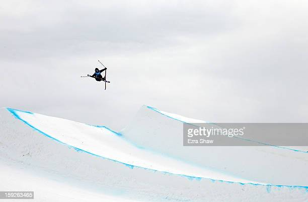 Vincent Gagnier of Canada competes during qualification for the men's ski slope style FIS Freestyle Ski World Cup at the US Grand Prix on January 10...