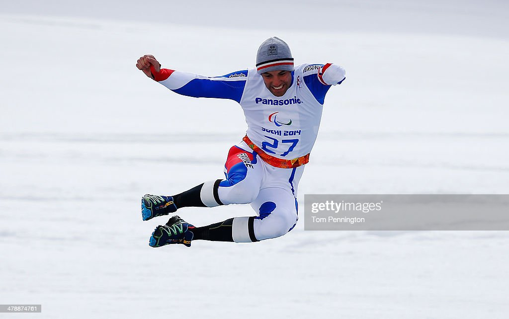 Vincent Gauthier-Manuel of France celebrates winning the gold medal during the medal ceremony for the Men's Giant Slalom Standing during day eight of the Sochi 2014 Paralympic Winter Games at Rosa Khutor Alpine Center on March 15, 2014 in Sochi, Russia.