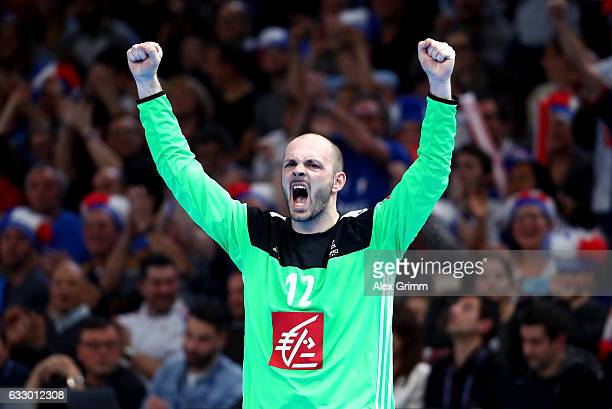 Vincent Gerard of France celebrates during the 25th IHF Men's World Championship 2017 Final between France and Norway at Accorhotels Arena on January...