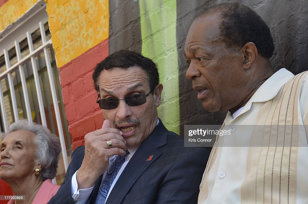 Vincent Gray and Marion Barry speak during the 55th Anniversary of Ben's Chili Bowl on August 22, 2013 in Washington, DC.