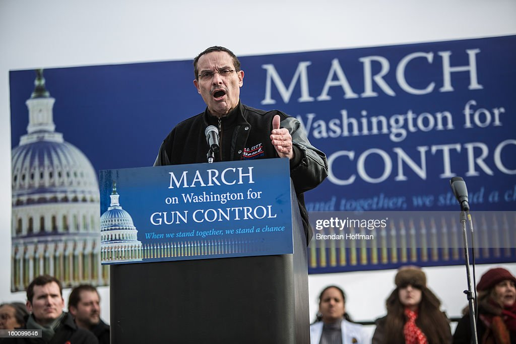 Vincent Gray, Mayor of the District of Columbia, speaks at a rally on the National Mall for stricter gun control laws on January 26, 2013 in Washington, DC. The demonstrators included survivors of the shooting at Virginia Tech, Newtown, Connecticut, and others.