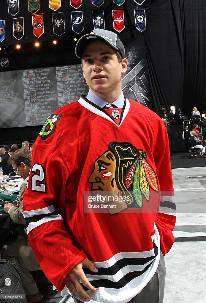 Vincent Hinostroza, 169th overall pick by the Chicago Blackhawks, looks on during day two of the 2012 NHL Entry Draft at Consol Energy Center on June 23, 2012 in Pittsburgh, Pennsylvania.
