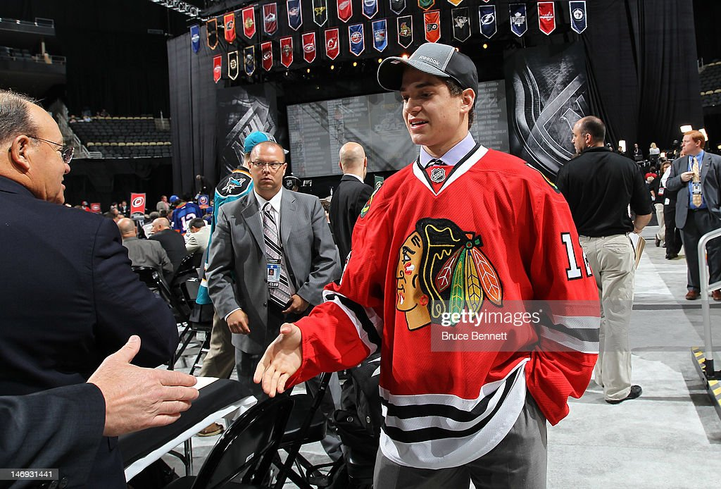 Vincent Hinostroza, 169th overall pick by the Chicago Blackhawks, shakes hands during day two of the 2012 NHL Entry Draft at Consol Energy Center on June 23, 2012 in Pittsburgh, Pennsylvania.
