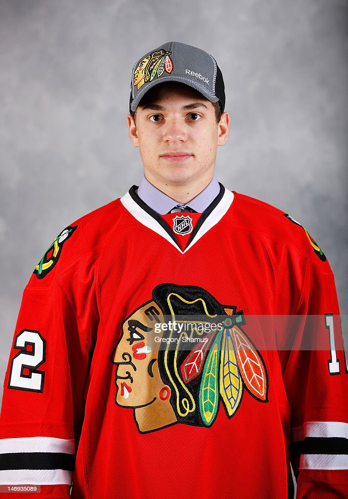 Vincent Hinostroza, 169th overall pick by the Chicago Blackhawks, poses for a portrait during the 2012 NHL Entry Draft at Consol Energy Center on June 23, 2012 in Pittsburgh, Pennsylvania.