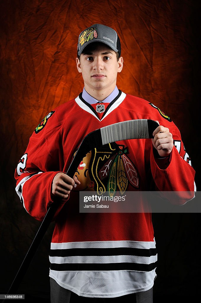 Vincent Hinostroza, 169th overall pick by the Chicago Blackhawks, poses for a portrait during Day Two of the 2012 NHL Entry Draft at Consol Energy Center on June 23, 2012 in Pittsburgh, Pennsylvania.