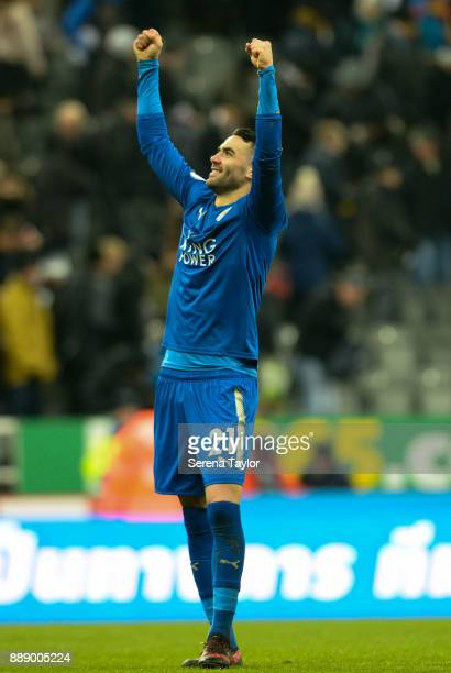 Vincent Iborra of Leciester City celebrates as they win the Premier League match between Newcastle United and Leicester City at StJames' Park on...