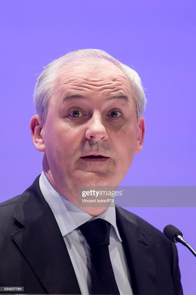 Vincent Isore/IP3 Paris, France on May 24, 2016. Natixis Chairman of the board, Francois Perol attends the general shareholders meeting of French banking group BPCE-Natixis, at Palais des Congres on May 24, 2016 in Paris, France. With around 10 % of loses this quarter, the mutual benefit company planes to reduce its number of agencies and to tax large cash deposits.