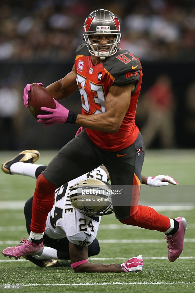Vincent Jackson of the Tampa Bay Buccaneers against the New Orleans Saintsat the MercedesBenz Superdome on October 5 2014 in New Orleans Louisiana