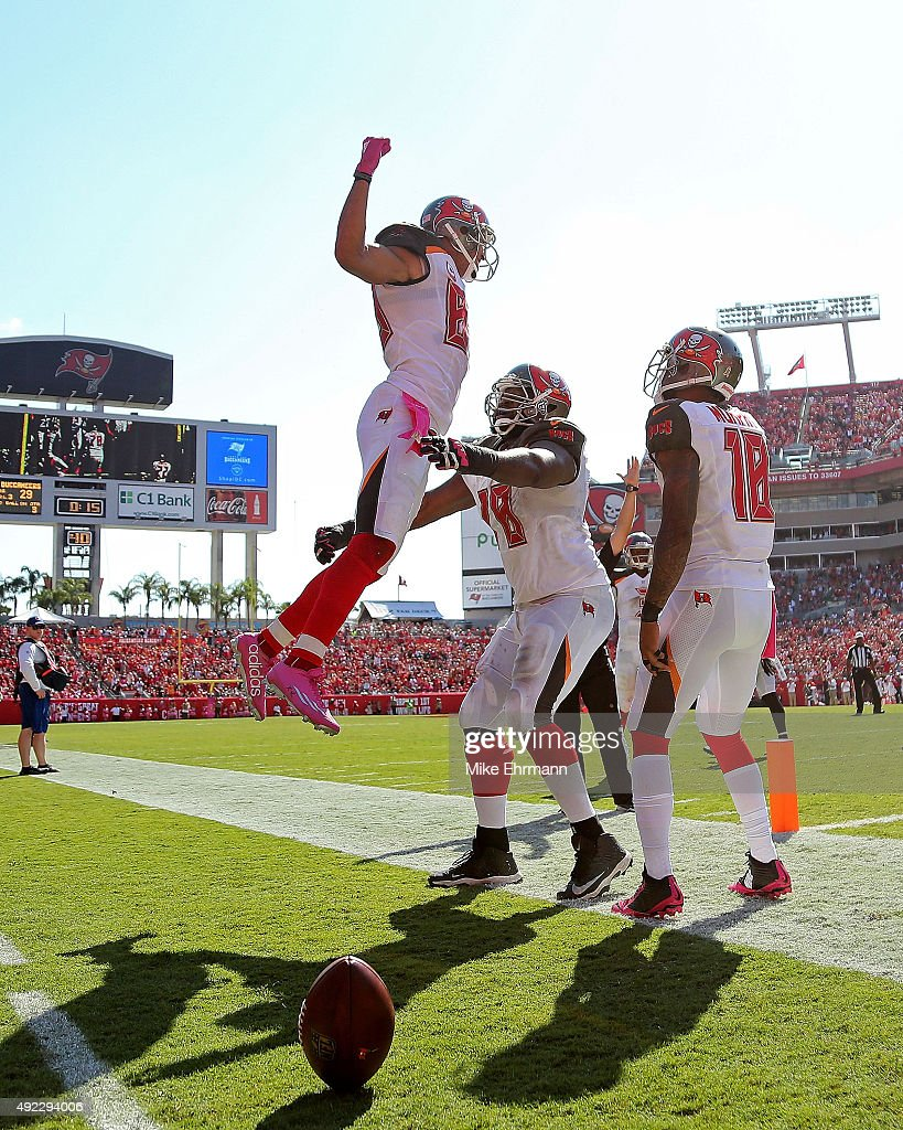 Vincent Jackson of the Tampa Bay Buccaneers celebrates after scoring a two point conversion during a game against the Jacksonville Jaguars at Raymond...
