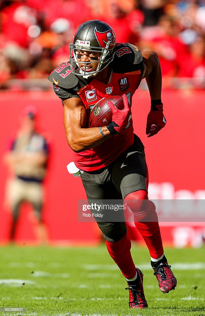 Vincent Jackson of the Tampa Bay Buccaneers in action during the game against the Atlanta Falcons at Raymond James Stadium on December 6 2015 in...