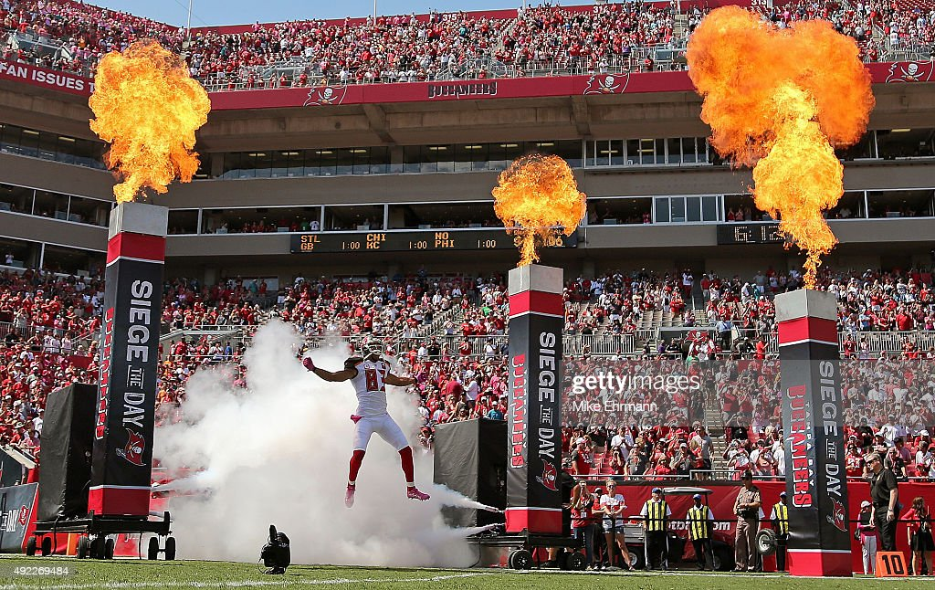 Vincent Jackson of the Tampa Bay Buccaneers takes the field during a game against the Jacksonville Jaguars at Raymond James Stadium on October 11...