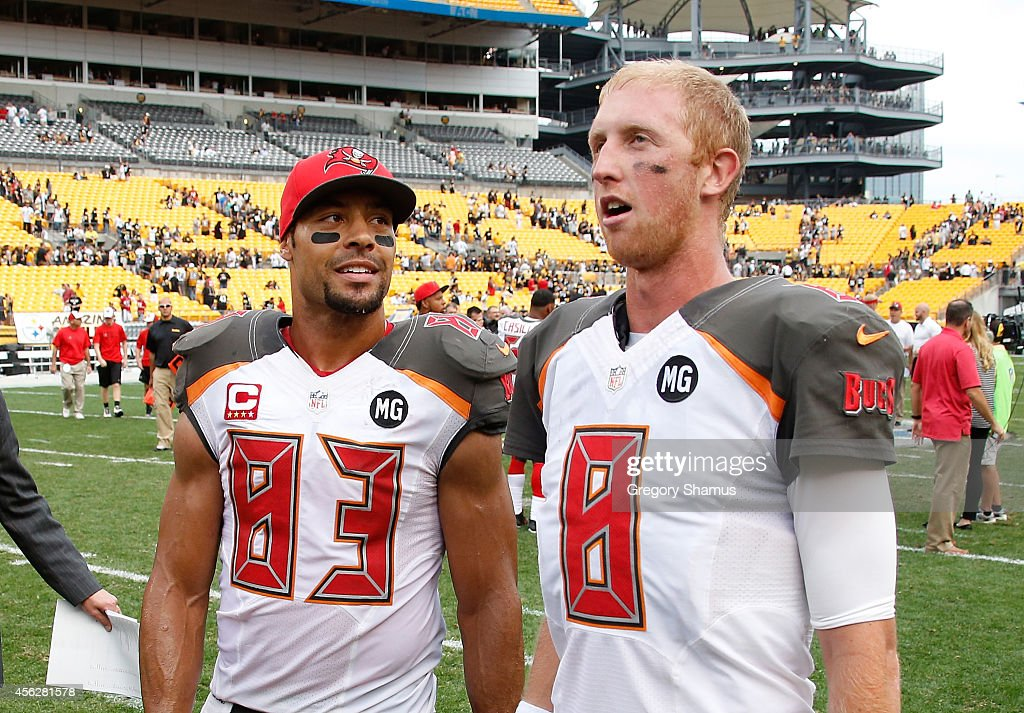 Vincent Jackson talks with Mike Glennon of the Tampa Bay Buccaneers after a 2724 win over the Pittsburgh Steelers at Heinz Field on September 28 2014...