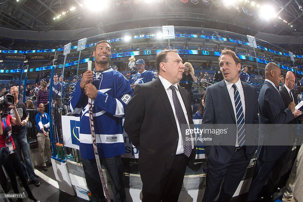 Vincent Jackson, wide receiver for the Tampa Bay Buccaneers, attends the Tampa Bay Lightning NHL game against the Winnipeg Jets at the Tampa Bay Times Forum on February 1, 2013 in Tampa, Florida.