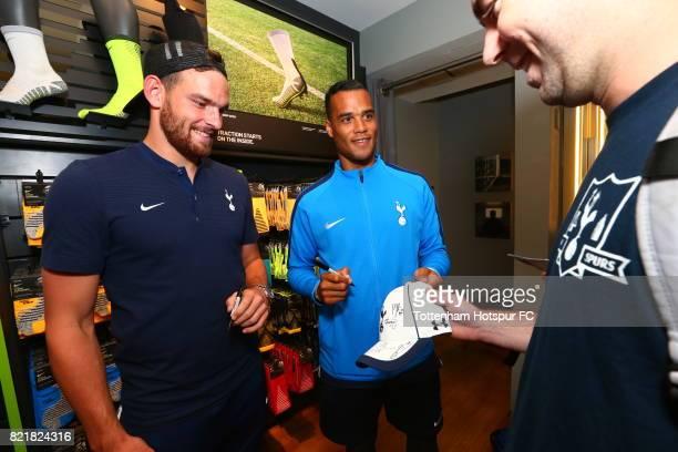 Vincent Janssen and Michel Vorm of Tottenham Hotspur FC sign autographs for fans during a visit to Nike Town on Tottenham Hotspur PreSeason Tour to...