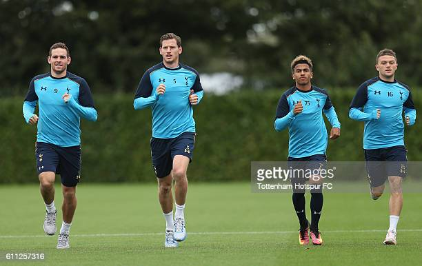 Vincent Janssen Jan Vertonghen Marcus Edwards and Kieran Trippier of Tottenham during the Tottenham Hotspur training session at the Tottenham Hotspur...