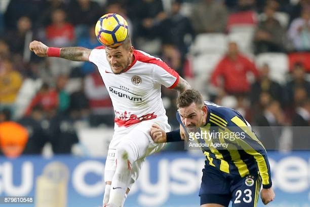 Vincent Janssen of Fenerbahce in action during the Turkish Super Lig match between Antalyaspor and Fenerbahce at Antalya Stadium in Antalya Turkey on...