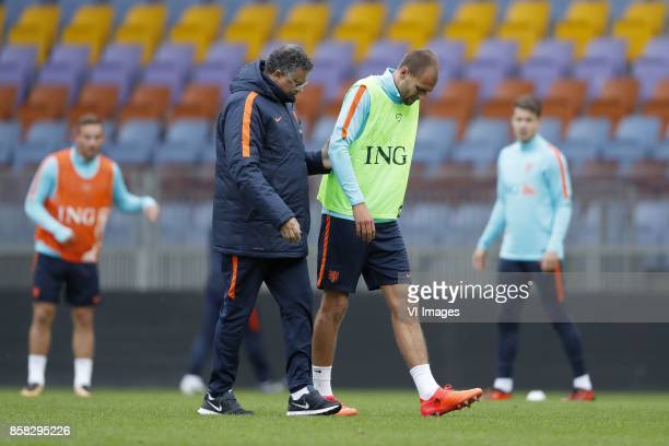 Vincent Janssen of Holland caretaker Ricardo de Sanders of Holland Bas Dost of Holland Marco van Ginkel of Holland during a training session prior to...