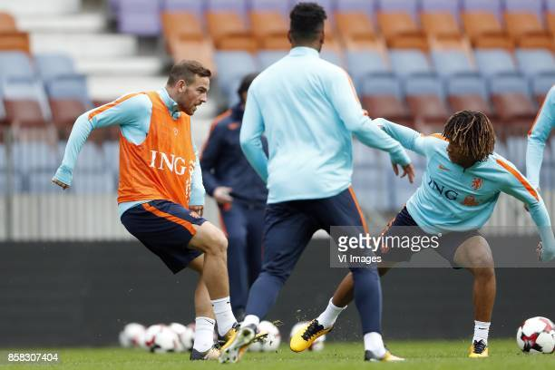 Vincent Janssen of Holland Jurgen Locadia of Holland Nathan Ake of Holland during a training session prior to the FIFA World Cup 2018 qualifying...