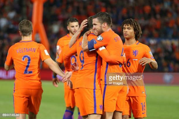 Vincent Janssen of Holland Kevin Strootman of Holland Nathan Ake of Hollandduring the FIFA World Cup 2018 qualifying match between The Netherlands...