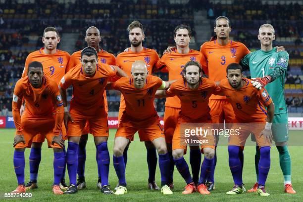Vincent Janssen of Holland Ryan Babel of Holland Davy Propper of Holland Daryl Janmaat of Holland Virgil van Dijk of Holland goalkeeper Jasper...