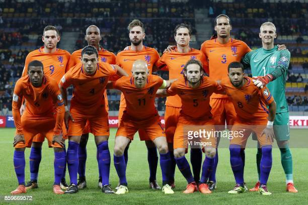 Vincent Janssen of Holland Ryan Babel of Holland Davy Propper of Holland Daryl Janmaat of Holland Virgil van Dijk of Holland goalkeeper Jasper...