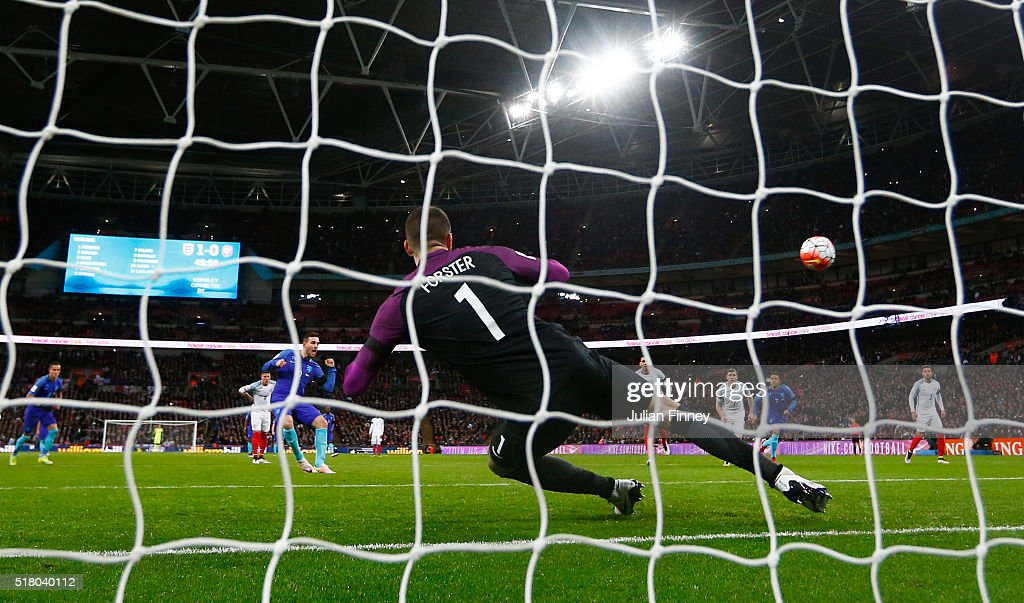 Vincent Janssen of the Netherlands scores the equalising goal from a penalty past Fraser Forster goalkeeper of England during the International Friendly match between England and Netherlands at Wembley Stadium on March 29, 2016 in London, England.