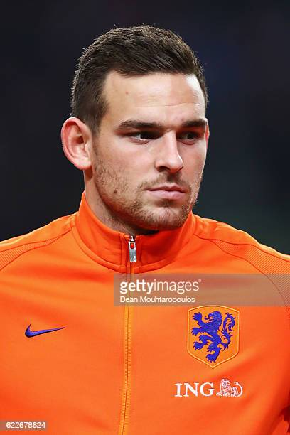 Vincent Janssen of the Netherlands stands for the national anthem prior to the international friendly match between Netherlands and Belgium at...