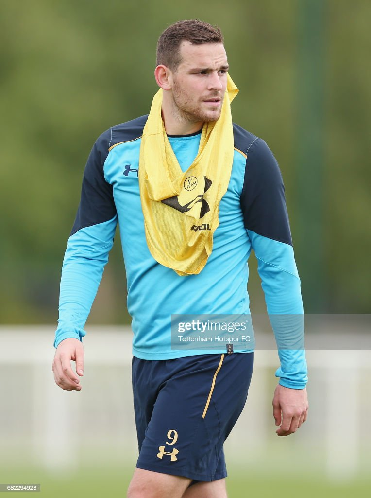 Vincent Janssen of Tottenham during the Tottenham Hotspur training session at Tottenham Hotspur Training Centre on May 12, 2017 in Enfield, England.
